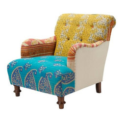 Kantha Cotton Club Chair, Yellow/Blue - This is such a fun look! Patchwork and paisley adorning an accent chair is just too cute.