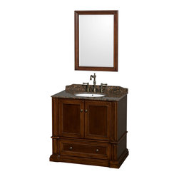 "Wyndham Collection - Rochester 36"" Cherry Single Vanity, Baltic Brown Granite Top, Drop-In Oval Sink - Old world charm meets modern functionality with the Rochester line of traditional bathroom vanities. Designed to look great in any setting, from modest country home to palatial estate, the Rochester vanities will revive and renew your personal sanctuary. Natural stone tops give a touch of additional luxury and the antique bronze hardware adds the finishing touch. The down-to-the-floor base imparts a sense of weight and grandeur, while ample cupboard and drawer storage ensures the quality and practicality that the Wyndham Collection is known for."
