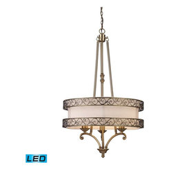 "Elk Lighting - Elk Lighting 11218/3-LED Abington Traditional Chandelier in Antique Brass - Elk Lighting 11218/3-LED Abington Traditional Chandelier in Antique Brass. The ""pendelier"" combines the attributes of a drum pendant and a chandelier. Abbington was designed with classic details integrated into a transitional drum form, making it suitable for either decor. Two rings of highly detailed filigree surround a cream fabric drum shade creating depth and visual interest. Finished in antique brass. - LED, 800 lumens (2400 lumens total) with full scale dimming range, 60 watt (180 watt total)equivalent , 120v replaceable LED bulb included"