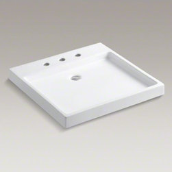 """KOHLER - KOHLER Purist(R) Wading Pool(R) above-counter/wall-mount bathroom sink with 8"""" w - Capturing the calm of a reflecting pool, the Purist Wading Pool sink offers sleek, angular lines and a shallow basin to transform your bathroom into a home spa environment. This fireclay sink adds a peaceful feeling to any bathroom with its minimalist sty"""