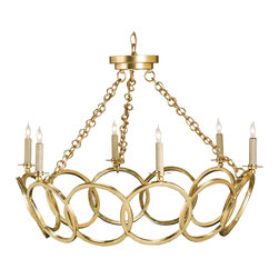 Kathy Kuo Home - Metallic Gold Leaf Hollywood Regency Circular 6 Light Chandelier - Ceilings and lighting are ideal places for embracing the baroque, the whimsical and the unashamedly feminine.  Why not crown your room with a tiara?  This gold leaf, six light, orb motif chandelier is the perfect fit for modern day princesses.
