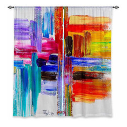 """DiaNoche Designs - Window Curtains Unlined - Lam Fuk Tim Color Strokes - DiaNoche Designs works with artists from around the world to print their stunning works to many unique home decor items.  Purchasing window curtains just got easier and better! Create a designer look to any of your living spaces with our decorative and unique """"Unlined Window Curtains."""" Perfect for the living room, dining room or bedroom, these artistic curtains are an easy and inexpensive way to add color and style when decorating your home.  The art is printed to a polyester fabric that softly filters outside light and creates a privacy barrier.  Watch the art brighten in the sunlight!  Each package includes two easy-to-hang, 3 inch diameter pole-pocket curtain panels.  The width listed is the total measurement of the two panels.  Curtain rod sold separately. Easy care, machine wash cold, tumble dry low, iron low if needed.  Printed in the USA."""