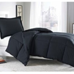 E & E Co., Ltd. - Micro Splendor Comforter Set in Black - This luxuriously soft and easy-care black comforter features down alternative filling and box quilting that add extra dimension and warmth.