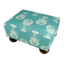 Lava - Lobster Footstool Blue - Upholstered footstool with wooden bun feet and polyurethane foam fill. Measures 15 x 12 x 7. Spot clean only. Handcrafted in USA.