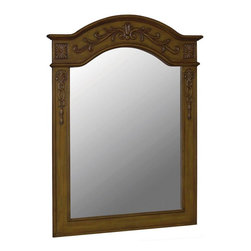 World Imports - Belle Foret 40in. x 30in. Framed Carved Portrait Mirror, Medium Oak - Single mirror designed to be mounted over a vanity