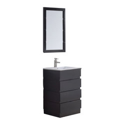 """Virtu USA - 23.5 Inch Modern Single Sink Bathroom Vanity - This 23 inch modern single sink vanity is a perfect addition to your bathroom project.  The Espresso bathroom vanity features three drawers with a White stone countertop and integrated sink that is pre-drilled for single hole faucet (included).  Large opening in back for easy plumbing installation.  Matching mirror included.  Dimensions: 24""""W  X 18.5""""D X 33.5""""H (Tolerance: +/- 1/4""""); Counter Top: White Stone with Integrated Sink; Finish: Espresso - (Very Dark Brown - Can Appear Black in Certain Lighting); Features: 3 Drawers; Hardware: No Hardware; Sink(s): 23.5"""" X 6.6"""" X 18 Integrated White Stone; Faucet: Pre-Drilled for Standard Single Hole - Faucet Included (PS-103); Assembly: Fully Assembled; Large cut out in back for plumbing; Included: Cabinet, Sink, Mirror (23.5"""" X 33""""), Faucet (PS-103); Not Included: Backsplash."""