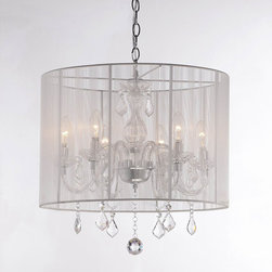 None - Emma white Shade and Iron Base Crystal Chandelier - Add a touch of class with these elegant crystal chandeliers. This light features clear crystals with a chrome finish on an iron base. A white shade surrounds the 6 lights on this chandelier,adding shimmering elegance to any room it hangs in.