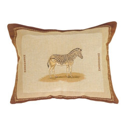 Pillow Decor Ltd. - Pillow Decor - Zebra French Tapestry Throw Pillow - Take a pattern tip from the animal kingdom with this throw pillow. A single zebra adorns this safari-worthy accent piece, giving a subtle nod to the classic black and white stripes. Try pairing it with your bold animal textiles for a fun look, or stay classically exotic by pairing it with other earth tones.