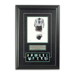 """Heritage Sports Art - Original art of the NFL 1941 Philadelphia Eagles uniform - This beautifully framed piece features an original piece of watercolor artwork glass-framed in an attractive two inch wide black resin frame with a double mat. The outer dimensions of the framed piece are approximately 17"""" wide x 24.5"""" high, although the exact size will vary according to the size of the original piece of art. At the core of the framed piece is the actual piece of original artwork as painted by the artist on textured 100% rag, water-marked watercolor paper. In many cases the original artwork has handwritten notes in pencil from the artist. Simply put, this is beautiful, one-of-a-kind artwork. The outer mat is a rich textured black acid-free mat with a decorative inset white v-groove, while the inner mat is a complimentary colored acid-free mat reflecting one of the team's primary colors. The image of this framed piece shows the mat color that we use (Hunter Green). Beneath the artwork is a silver plate with black text describing the original artwork. The text for this piece will read: This original, one-of-a-kind watercolor painting of the 1941 Philadelphia Eagles uniform is the original artwork that was used in the creation of this Philadelphia Eagles uniform evolution print and tens of thousands of other Philadelphia Eagles products that have been sold across North America. This original piece of art was painted by artist Tino Paolini for Maple Leaf Productions Ltd. Beneath the silver plate is a 3"""" x 9"""" reproduction of a well known, best-selling print that celebrates the history of the team. The print beautifully illustrates the chronological evolution of the team's uniform and shows you how the original art was used in the creation of this print. If you look closely, you will see that the print features the actual artwork being offered for sale. The piece is framed with an extremely high quality framing glass. We have used this glass style for many years with excellen"""