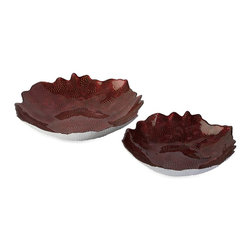 iMax - iMax Fendi Glass Bowls - Set of 2 X-2-75138 - Like a deep red sunset in a distant tropical retreat, the Fendi glass bowls have a texture inspired by marine life and create a dramatic focal point to any room.