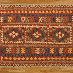 Kilim Qasqagi - Flat Weave 3'10'' X 6'3'' Vegetable Dyes Stunning Brick Red Kilim Oriental Area Rug.