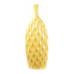 Privilege - Privilege Yellow Ceramic Vase - Brighten a dark space with this bright and cheery vase. Made of ceramic, this sunny yellow vase features a unique wavy texture that adds chic and sophisticated style to any type of decor.