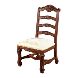 MBW Furniture - Mahogany Ladder Back Gold Dining Side Chairs (2) - This product is finely constructed from top grade kiln-dried solid mahogany. Its superb quality will add a touch of elegance to your home.
