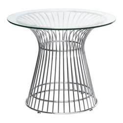 "Lemoderno - Fine Mod Imports  Wire Side Table, Glass - This classic table will surely make quite a statement as the focal point of your dining room. The Table Designed in 1966, is truly a unique piece. Considered by many to be a design icon of the modern era, the Wire Side Table's harmonious forms are created by welding curved vertical steel wire rods to circular frames, producing a moir� effect. Decorative, gentle and graceful, the Wire Side Table is truly one of a kind. An elegant latecomer to the mid-century modern movement Steel wire base Glass Top  Dimensions: 19.6""H"