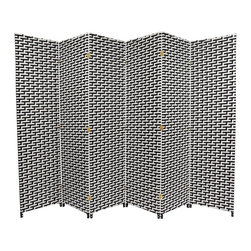 Oriental Furniture - 6 ft. Tall Woven Fiber Room Divider - Black/White - 6 Panel - A two-tone fiber screen constructed of interwoven plant fiber on a lightweight, kiln-dried wood frame. Spun plant fiber is dyed black and white and woven into patterns on each panel. Tight weave reinforces each panel while still allowing some light and air to pass through. A sturdy room divider, privacy screen or decor accent in the home or office.