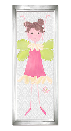 """Doodlefish - Briana in Silver Frame - Briana is a funny, sweet fairy that is a from the new Fairy collection by Doodlefish Artist Regina Nouvel.  With quirky pigtails and a pretty pink dress she is ready to watch over your little girl  The backdrop of this stretched canvas artwork is a soft grey damask pattern.  This pattern travels across all three pieces of this collection along with a pink and green butterfly.  The piece is finished 12x36. It is also available mounted and framed.  Framed, the finished piece measures 16"""" x 40""""."""