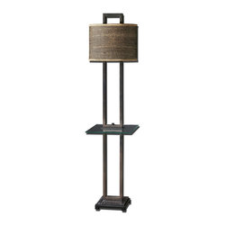 Carolyn Kinder - Carolyn Kinder Stabina Transitional Table Lamp X-1-81782 - Rustic bronze metal with burnished edges, black marble foot and a tempered, rectangle glass tray. The oval drum shade is brown and tan woven rattan with decorative trim.