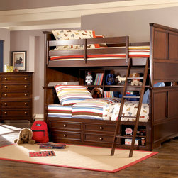 """Lea Industries - Lea Elite Covington 2 Piece Bookcase Bunk Bed Kids' Bedroom Set in Cherry - The Covington Collection by Lea is a timeless collection that is perfect for your child's room. This traditional youth collection is characterized by weighty drawer fronts, casual hardware, finessed lines, and a classic Cherry color finish. The Covington Collection is crafted from hand selected cherry veneers, solid hardwood and wood products. Many storage options are available with the Covington Collection that makes it a great fit for any space. The Covington Collection includes a panel bed, bunk bed, unique bunk bed bookcase, underbed storage options, dresser, nightstand and desk. With traditional styling and a casual finish the Covington Collection is a great fit for boys and girls of all ages! With roots that stretch all the way back to 1869, Lea Industries has been adding its signature style and design to homes around the United States for more than a century. Children's furniture makes up the cornerstone of this topnotch manufacturer's lineup, and Lea has always managed to produce functional, modern - yet sophisticated - furniture for children. Furniture that bears the Lea name is always high quality, versatile and attractive. - 145-978R-979R-3-SET.  Product features: Belongs to Covington Collection; Twin over Full Bunk Bed w/ Storage; Twin Bed Ends: 45""""W x 3""""D x 39""""H; Wood Rails: 76""""W x 2""""D x 5""""H; Full Bed Ends: 60""""W x 3""""D x 39""""H; Available with underbed storage or captain bed box; Captain Bed Box include: 4 Drawers, 1 Adjustable Shelf, Open Area: 16.25""""W x 20""""D x 12.5""""; Bunk Bed will Accommodate Max of 11"""" Of Mattress & Foundation; Bunk Bed Bookcase: 3 Adjustable Shelves and 3 Fixed Shelf; Available in Twin over Full or Full over Full sizes; Cherry veneers and solid hardwood; Warm Cherry Finish. Product includes: Bookcase Bunk Bed (1); Chest (1). 2 Piece Bookcase Bunk Bed Kids' Bedroom Set in Cherry belongs to Covington Collection by Lea."""