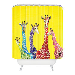 DENY Designs - Clara Nilles Jellybean Giraffes Shower Curtain - Who says bathrooms can't be fun? To get the most bang for your buck, start with an artistic, inventive shower curtain. We've got endless options that will really make your bathroom pop. Heck, your guests may start spending a little extra time in there because of it!