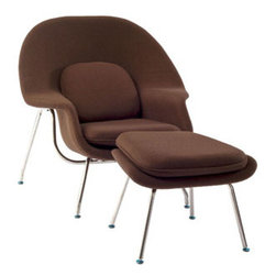 """LexMod - W Lounge Chair in Brown - W Lounge Chair in Brown - Concerted efforts run deep in the expansively designed Womb Chair. First intended as a chair you can curl up in,  it has since become a symbol for organic living. The natural motif portrays growth amidst silent resolve. Perhaps this is what makes the Womb both a reception and a lounge chair. Each of us would like to find our place as it were. Whether this means feeling welcomed in by the reception halls of businesses, or feeling welcome to relax into our own homes. While mid-century modernism showed us how to embark into the age of discovery, this finely upholstered classic taught us how to contemplate upon it. The shell of the Womb chair is made of molded fiberglass with foam padding. The legs are stainless steel and come with foot caps to prevent scratching on floors. Set Includes: One - Matching Ottoman One - W Lounge Chair Reinforced Fiberglass Shell, Includes wool with foam core, Stainless Steel Frame Chair Dimensions: 38""""L x 38.5""""W x 35""""H Ottoman Dimensions: 22""""L x 25""""W x 18""""H Seat Height: 16.5 - 17""""H Armrest Height: 22""""H - Mid Century Modern Furniture."""