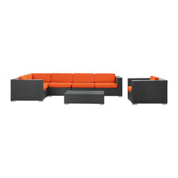 Corona Outdoor Wicker Patio 7 Piece Sectional Sofa Set in Espresso with Orange C