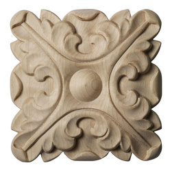 """Ekena Millwork - 4 1/4""""W x 4 1/4""""H x 5/8""""P Acanthus Rosette, Maple - Our rosettes are the perfect accent pieces to cabinetry, furniture, fireplace mantels, ceilings, and more.  Each pattern is carefully crafted after traditional and historical designs.  Each piece is carefully carved and then sanded ready for your paint or stain.  They can install simply with traditional wood glues and finishing nails."""