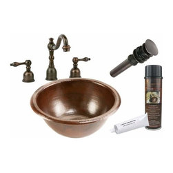 Premier Copper Products - Round Drop-in Copper Sink w/ORB Faucet - BSP2_LR14RDB Premier Copper Products Small Round Self Rimming Hammered Copper Sink with ORB Widespread Faucet, Matching Drain and Accessories