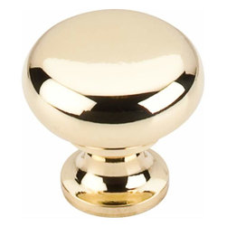 Top Knobs - Top Knobs: Flat Faced Knob 1 1/4 Inch - Polished Brass - Top Knobs: Flat Faced Knob 1 1/4 Inch - Polished Brass