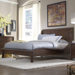 Tribecca Home - TRIBECCA HOME Lancashire Walnut Brown Curved Sleigh Queen-size Bed - Classic styles and modern shapes come together in this timeless queen bed. Curved lines and a low footboard make this bed the center of your bedroom,and you can easily change the look of the bed by changing your pillows and bedding.