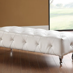 Michelle White Crocodile Pattern Leatherette Upholstered Bench - The Michelle Upholstered Bench reflects a contemporary style with traditional influences. The bench is upholstered in White Crocodile Pattern Leatherette with tufted accents and has graceful curved legs.