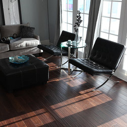 Walnut Engineered Floor - This is a hand scraped, engineered, walnut floor. It shows that you can get the look of a hand scraped floor with an engineered product.