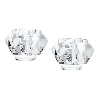 Lazy Susan - Faceted Star Large Crystal Candleholder Set of 2 - Faceted Star  Large Crystal Candleholder