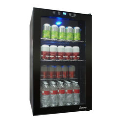 Vinotemp - Touch Screen Beverage Cooler - Freestanding unit with three adjustable shelves. Black color. Capacity: 34 bottles. Storage capacity: 80 pc., 12 oz. cans. 19 in. W x 18.5 in. D x 32.75 in. H (59 lbs.). 3-5 days lead time. Touch screen control panel with security lock. Digital temperature display with blue LED readout. Glass door with recessed handle. Interior light. Temperature range: 40� - 65� F with interior light. Warranty