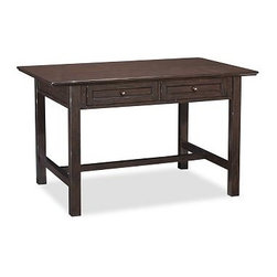 """Whitney Project Desk, Heritage Espresso stain - Design the perfect setting for your creative endeavors with our project table. The counter-height top is perfect for everything from scrapbooking and gift wrapping to reviewing blueprints. Its drawers can be opened from either side, keeping supplies within easy reach at all times. 60"""" wide x 38"""" deep x 36"""" high Crafted with a solid hardwood frame. Features two pull-out drawers. Desktop is finished in Weathered Pine. Frame and legs painted Almond White. View our {{link path='pages/popups/fb-home-office.html' class='popup' width='480' height='300'}}Furniture Brochure{{/link}}."""