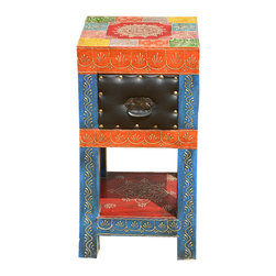 Sierra Living Concepts - Hand Painted Wood Leather 2 Tier Square Bedside End Table - All the bright and beautiful colors from the paint box combine in this festive night stand. Our Classic Colors End Table brings a whimsical rainbow of colors into any room.