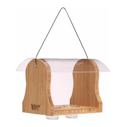 Nature's Way - Bamboo Oriole Bluebird Feeder - Oriole/Bluebird feeder is made of solid cross-ply bamboo and has 2 removable, see-thru bowls for grape jelly or mealworms. Its features include a stay-Clear, crack resistant acrylic weather shield, rust-free stainless steel screws.
