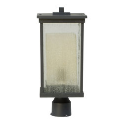 Exteriors - Exteriors Riviera Transitional Outdoor Post Lantern Light X-29-5273Z - Multiple shades create visual interest on this clean lined Craftmade outdoor post lantern light. From the Riviera Collection, this contemporary outdoor lighting fixture features a clean lined, rectangular shape that has been softened by an Oiled Bronze finish. The clear seeded glass exterior has been paired with a secondary shade made from a frosted amber glass.