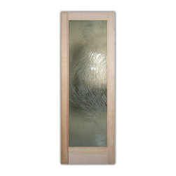 "Cast Swirls Glass Front Doors - Glass Entry Doors - Frosted Glass Designs - Glass Front Doors, Entry Doors that Make a Statement! Your front door is your home's initial focal point and glass doors by Sans Soucie with frosted, etched glass designs create a unique, custom effect while providing privacy AND light thru exquisite, quality designs!  Available any size, all glass front doors are custom made to order and ship worldwide at reasonable prices.  Exterior entry door glass will be tempered, dual pane (an equally efficient single 1/2"" thick pane is used in our fiberglass doors).  Selling both the glass inserts for front doors as well as entry doors with glass, Sans Soucie art glass doors are available in 8 woods and Plastpro fiberglass in both smooth surface or a grain texture, as a slab door or prehung in the jamb - any size.   From simple frosted glass effects to our more extravagant 3D sculpture carved, painted and stained glass .. and everything in between, Sans Soucie designs are sandblasted different ways creating not only different effects, but different price levels.   The ""same design, done different"" - with no limit to design, there's something for every decor, any style.  The privacy you need is created without sacrificing sunlight!  Price will vary by design complexity and type of effect:  Specialty Glass and Frosted Glass.  Inside our fun, easy to use online Glass and Entry Door Designer, you'll get instant pricing on everything as YOU customize your door and glass!  When you're all finished designing, you can place your order online!   We're here to answer any questions you have so please call (877) 331-339 to speak to a knowledgeable representative!   Doors ship worldwide at reasonable prices from Palm Desert, California with delivery time ranges between 3-8 weeks depending on door material and glass effect selected.  (Doug Fir or Fiberglass in Frosted Effects allow 3 weeks, Specialty Woods and Glass  [2D, 3D, Leaded] will require approx. 8 weeks)."