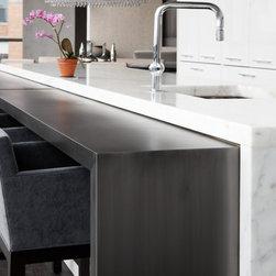 Blackened Steel Kitchen Console - Massive custom made kitchen console in blackened steel finish.