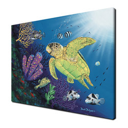 Ready2HangArt - Ready2hangart David Dunleavy 'Boxfish Reef' Canvas Wall Art, 16 X 20 - This beauty of the coral real and the grand sea turtle is shown against the blue ocean in this canvas wall art from renowned artist David Dunleavy.  It is fully finished, arriving ready to hang on the wall of your choice.
