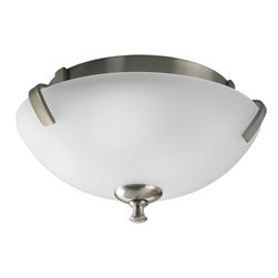 Progress Lighting - Progress Lighting Westin Transitional Flush Mount Ceiling Light X-90-0923P - From the Weston Collection, this Progress Lighting flush mount ceiling light features a small base with metal arms and a beautiful turned finial. It comes finished in a Brushed Nickel hue that adds an updated appeal while a triple opal glass diffuser ensures even, clean illumination. Damp location listed.