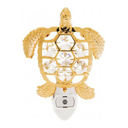 KGNC - Sea Turtle Night Light 24K Gold Plated Spectra Crystals By Swarovski Gift Ideas - Sea turtle night light 24K gold plated Spectra crystals by Swarovski Gift Ideas.