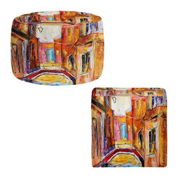 DiaNoche Designs - Ottoman Foot Stool by Karen Tarlton - Venice Magic - Lightweight, artistic, bean bag style Ottomans. You now have a unique place to rest your legs or tush after a long day, on this firm, artistic furtniture!  Artist print on all sides. Dye Sublimation printing adheres the ink to the material for long life and durability.  Machine Washable on cold.  Product may vary slightly from image.
