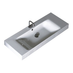 "WS Bath Collections - Cento 3550 Wall Hung or Counter Top Ceramic Sink 39.4"" x 17.7"" - Cento by WS Bath Collections Bathroom Sink 39.4 x 17.7, Designed by Marc Sadler of Italy, Wall Hung or Counter Top Installation, in Ceramic White"