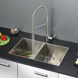 Ruvati - Ruvati RVC2337 Stainless Steel Kitchen Sink and Stainless Steel Faucet Set - Ruvati sink and faucet combos are designed with you in mind. We have packaged one of our premium 16 gauge stainless steel sinks with one of our luxury faucets to give you the perfect combination of form and function.