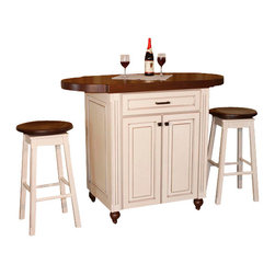 Chelsea Home Furniture - Chelsea Home Racheal Kitchen Pub with Barstools in Maple and Walnut - Your new kitchen island will be the center of attention at your next get together! The Rachael Kitchen Pub is made for any room, where you and a friend can enjoy a full meal or share an evening drink. It features a top-Drawer and 2 door cabinets to store your belongings as well as 2 bar stools. Chelsea Home Furniture proudly offers handcrafted American made heirloom quality furniture, custom made for you. What makes heirloom quality furniture? It's knowing how to turn a house into a home. It's clean lines, ingenuity and impeccable construction derived from solid woods, not veneers or printed finishes over composites or wood products _ the best nature has to offer. It's creating memories. It's ensuring the furniture you buy today will still be the same 100 years from now! Every piece of furniture in our collection is built by expert furniture artisans with a standard of superiority that is unmatched by mass-produced composite materials imported from Asia or produced domestically. This rare standard is evident through our use of the finest materials available, such as locally grown hardwoods of many varieties, and pine, which make our products durable and long lasting. Many pieces are signed by the craftsman that produces them, as these artisans are proud of the work they do! These American made pieces are built with mastery, using mortise-and-tenon joints that have been used by woodworkers for thousands of years. In addition, our craftsmen use tongue-in-groove construction, and screws instead of nails during assembly and dovetailing _both painstaking techniques that are hard to come by in today's marketplace. And with a wide array of stains available, you can create an original piece of furniture that not only matches your living space, but your personality. So adorn your home with a piece of furniture that will be future history, an investment that will last a lifetime.