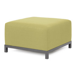 """Howard Elliott - Sterling Willow Axis Ottoman - Titanium Frame - At the Height of Fashion! Lounge in style on Sterling Axis Ottomans. Float the Sterling Axis Ottoman on its own or pair it up with additional Chair, Corner or Ottoman Pieces. This Chair features boxed cushions with Velcro attachments to keep the cushions from slipping and looking their best all of the time. Your Sterling Axis Ottoman will definitely turn heads with its sophisticated linen-like texture and vibrant color selection. This Sterling Willow piece is 100% Polyester finished in a soft burlap texture in a willow green color. 30.5""""W x 30.5""""D x 19.5""""H"""