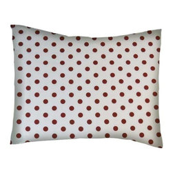 SheetWorld - SheetWorld Twin Pillow Case -Percale Pillow Case-Burgundy Polka Dots-Made in USA - Twin pillow case. Made of an all cotton woven fabric. Side Opening. Features a burgundy polka dots print.
