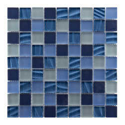 Somertile - Somertile Maritime Abalone Glass Mosaic Wall Tiles (Pack of 10) - The elegant and gorgeous appeal of blue mosaic wall tiles makes the perfect addition to any room. Featuring a beautiful blend of frosted blue tiles and rippled pearl blues,this sophisticated wall tile will liven the decor of any room.