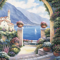 Murals Your Way - Mediterranean Archway Wall Art - A large stone archway frames this lovely scene of boats sailing on the blue Mediterranean sea
